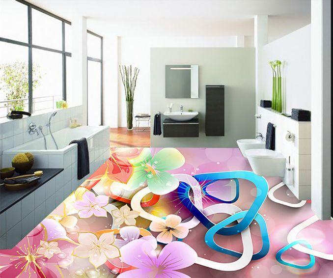 3D Dream Blooming Flower Floor WallPaper Murals Wall Print Decal 5D AJ WALLPAPER