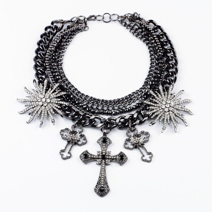 Collar Grande Cruz Estrella Cristal Extravagante Plateado black Punk único JD 6