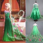 Robe Déguisement Costume La Reine des Neiges Frozen Green Anna Enfant Filles