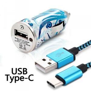 Chargeur-Voiture-Allume-Cigare-Motif-HF08-Cable-USB-Type-C-pour-Huawei-P20-Lite