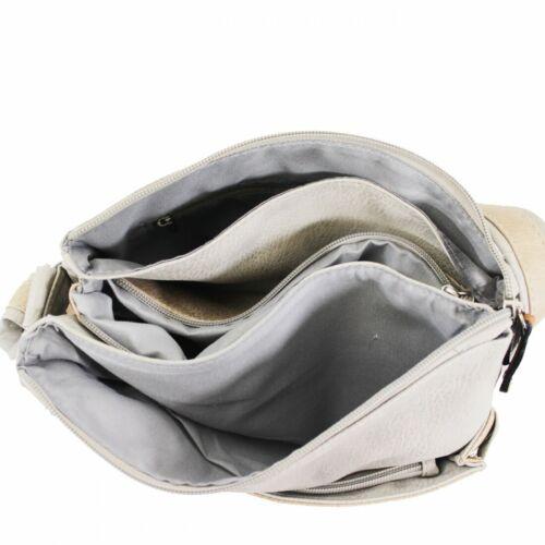 S-Medium Cross Body Messenger Woman Man Classic Multi Pockets Bag Faux Leather