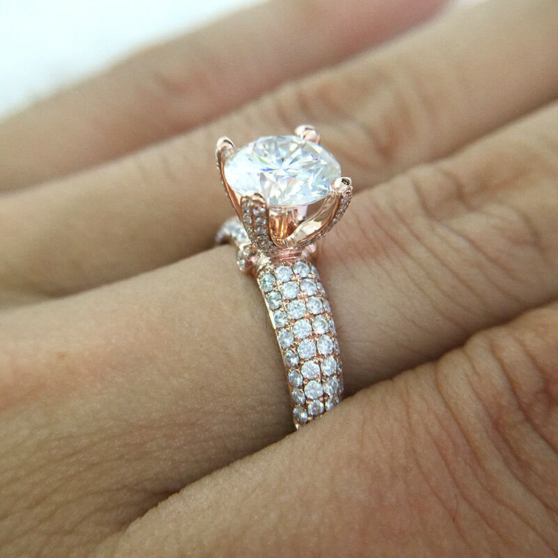 2CT 8mm Round Cut Brilliant Moissanite Engagement Ring Solid 14k pink gold VVS1