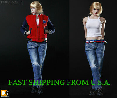 """1//6 Sport Jacket Tank Top Jeans Set For 12/"""" PHICEN Hot Toys Female Figure ❶USA❶"""