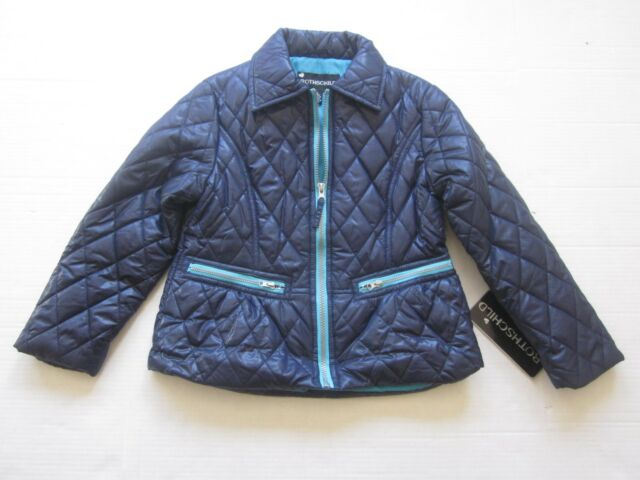 Rothschild Girls Blue Full Zip Quilted Puffer Jacket