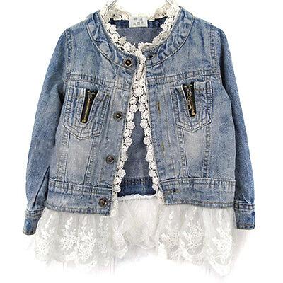 Kids Girls Toddler Long sleeve Coat Denim Lace Princess Outerwear 2T 3T 4T 5 6 7