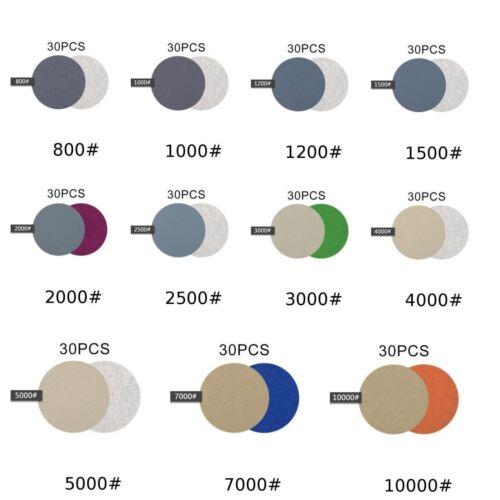 30pcs//set 60-10000 Grit Wet//Dry Sandpaper Disc Hook And Loop Sanding Pads 3in