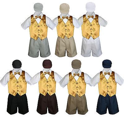 Navy Boy Toddler Formal Vest Shorts Suit Satin Vest Necktie Hat 5PC Set sz S-4T