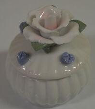 Ceramic Porcelain Decorative Round Trinket Box Dish Flowers #www