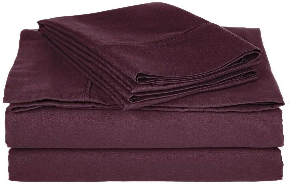 4-pc Queen Size Superior Plum Comfy Cotton Blend Sheet Set