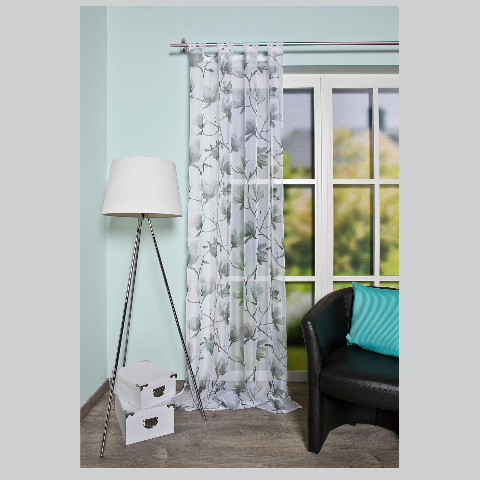 Magnolie blume bl te schlaufenschal gardine vorhang for Schlaufenvorhang kinderzimmer