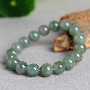 Natural Grade A Oil-Green Jade (jadeite) Bracelet 8mm Round Bead Bracelet