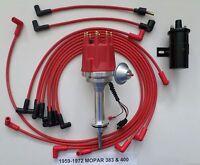 Small Cap Mopar 1959-1972 383 400 Red Hei Distributor+ Black 45k Coil+plug Wires