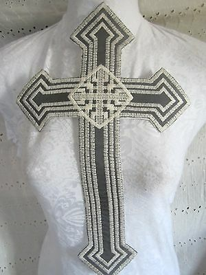 """15"""" ***EMBROIDER GOTHIC CROSS - CRUCIFIX***  IVORY ON BLACK NET"""
