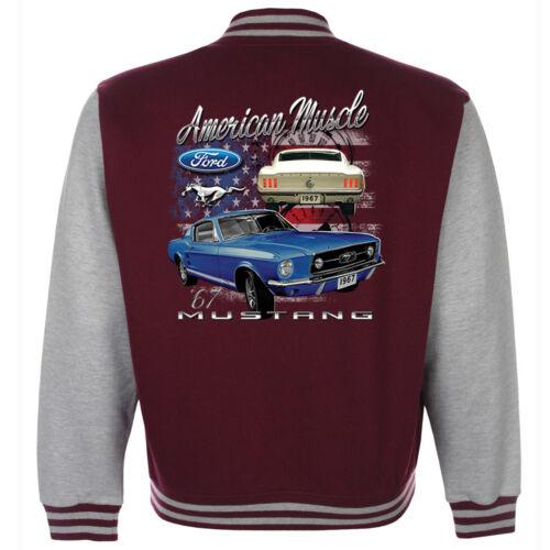 Ford Mustang Baseball Varsity Jacket American Classic Pony Vintage V8 Muscle Car