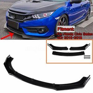 Front-Bumper-Lip-Splitters-Chin-Diffuser-Spoiler-For-Honda-Civic-Glossy-Black