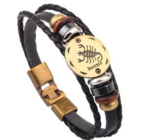 Pulsera para Hombre mujer moda artesanal Escorpio trenzado de Cuero Regalo lujo