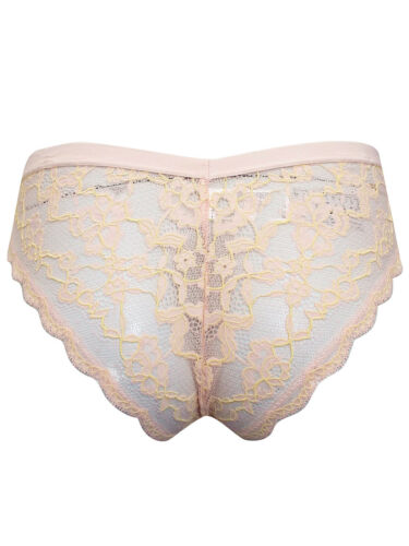 M/&S LIGHT-CITRUS All Over Lace Brazilian Knickers Size 10