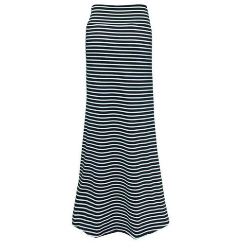Women Lady High Waist Striped Fold Over Stretch Long Maxi Skirt Plus Size 6L
