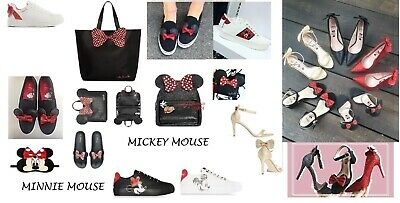 BN PRIMARK LADIES GIRLS DISNEY WHITE MICKEY MOUSE LACE-UP TRAINERS SHOES