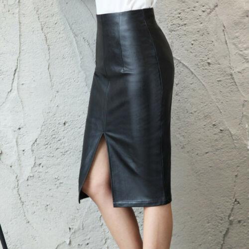 Women High Waist Slim Fit PU Leather Wet Look Pencil Shiny Office Business Skirt