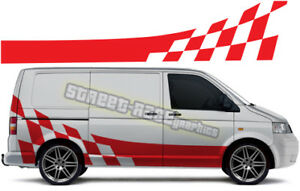 Details Zu Vw Volkswagen Transporter T4 T5 Campervan Racing Flag Stripes Stickers 013