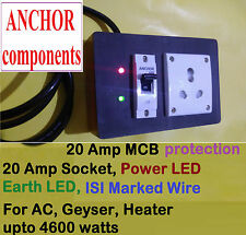 Wooden Extn  20 Amp, 6 AMP COMBO socket, MCB protection, LED, 2 meter ISI wire