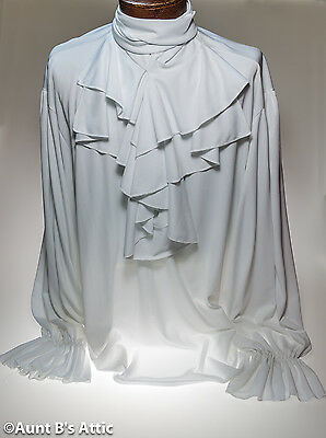 Victorian Gothic Style Men's White Ruffled Front And Cuffs Poly Costume Shirt