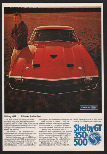 1969 Carroll SHELBY COBRA GT 500 Mustang Muscle Car w Jet Engine VINTAGE AD