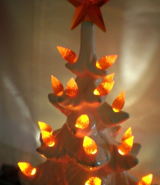 20 Vintage Extra Large Orange Flame Twists Ceramic Christmas Tree Lights Bulbs