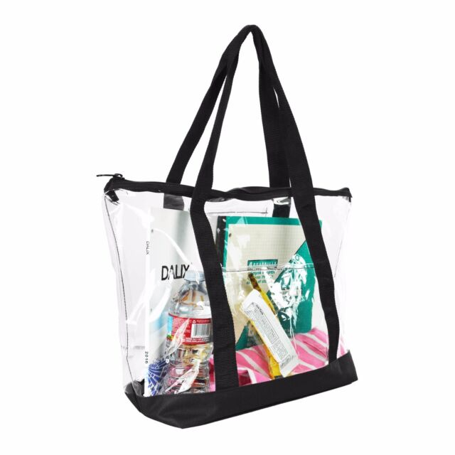 Dalix Clear Ping Security Work Tote Shoulder Bag Womens Handbag In Black