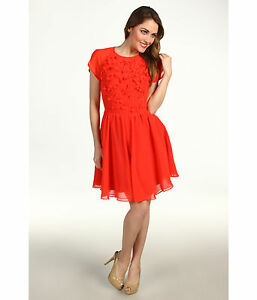 092f83370634 NWT Ted Baker Penny Floral Chiffon Petal Embellished Dress Red Size ...