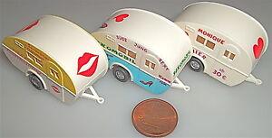 3-x-WIKING-Wohnwagen-verschieden-bedruckt-1-87-LC6-a
