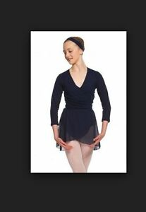 Capezio-Girl-039-s-Cross-Over-Top-Navy-Ballet-Dance-Jazz-szS-BNWT-19