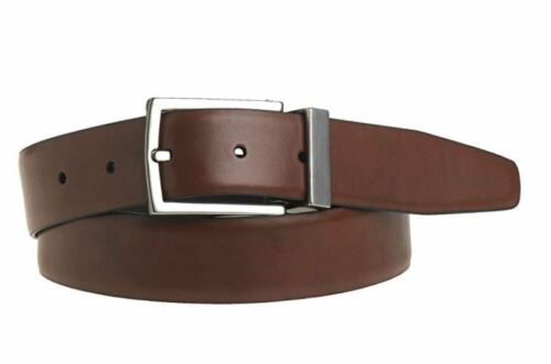 KENNETH COLE REACTION MENS U-TURN REVERSIBLE LEATHER SILVER BELT 11KC08X025 014