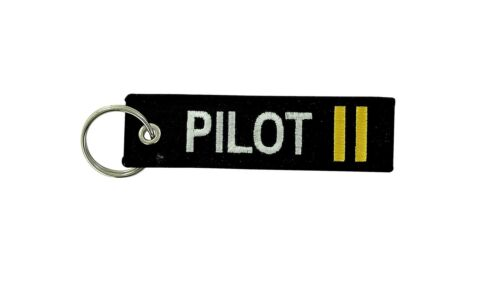 Remove before flight keyring keychain captain gold crew 2 gold stripe pilot