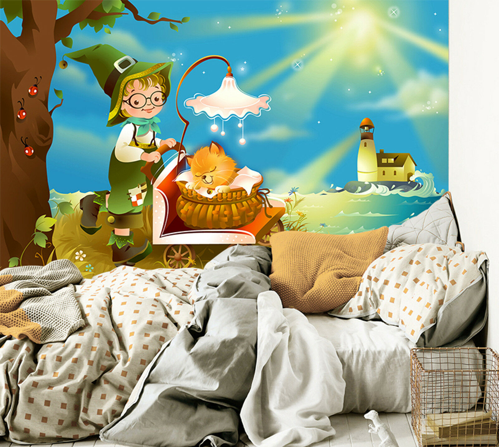 3D Licht Bäume Fototapeten Wandbild Fototapete Bild Tapete Familie Kinder
