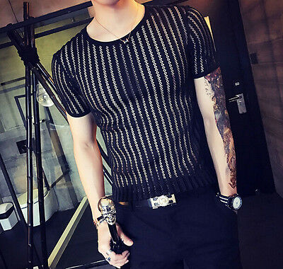Hot Men's Sexy See Through Striped Slim Fit Summer Short Sleeve T-Shirt Top A029