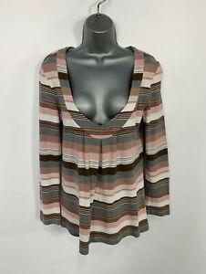 WOMENS-NEXT-ESSENTIALS-STRIPED-LONG-SLEEVE-V-NECK-CASUAL-T-SHIRT-TOP-SIZE-UK-12