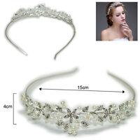 Silver Wedding Bridal Princess Crystal Rhinestone Prom Hair Tiara Crown Headband