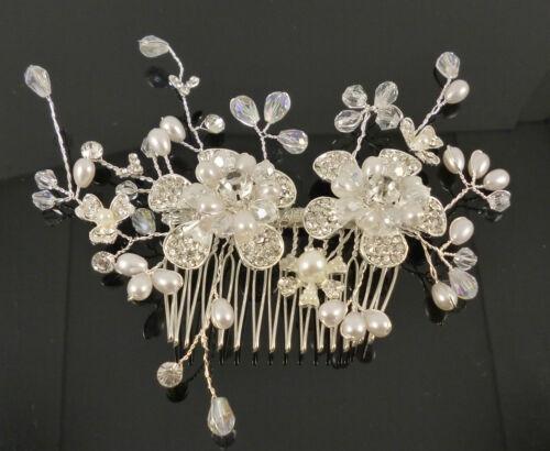 Ellie Bridal Wedding Crystal Rhinestones Diamante Vintage Hair Comb Clip