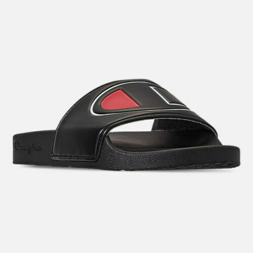Women's Champion IPO Slide Sandals Black Red Sizes 6-10 New In Box CM100312W