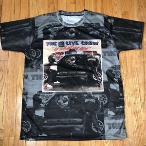 Vtg-2-Live-Crew-Miami-Rap-Concert-All-Over-Print-Poly-T-Shirt-Hurricanes-Mens-L