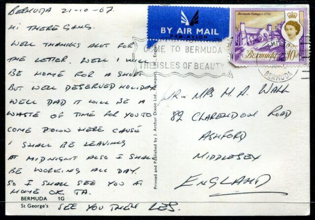 Bermuda postcard to UK 1967