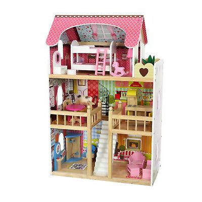 Puppenhaus Puppenvilla Puppenstube Holzspielzeug 3 Etagen bunt + Möbeln Zubehör