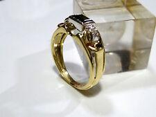 Magnifique Anneau 55 17,5 mm ø 585/14k Doré Brillant 0,036ct Diamant Tourmaline