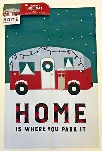 Indoor-Outdoor-Garden-flag-12-034-x-18-034-xmas-Camper-Home-is-where-you-Park-it