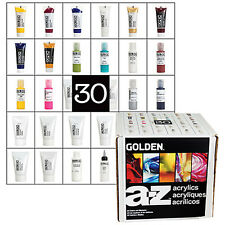 Golden Acrylic Artist A-Z Paint Set 30 Pieces Colours + Mediums