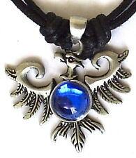 PHOENIX RISING FROM THE ASHES PEWTER PENDANT NECKLACE  Blue bead  P0530
