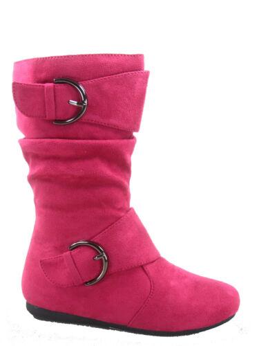 Girl/'s Kid/'s Cute Zipper Flat Heel  Mid Calf  Slouchy Boot Shoes Size 9-4 NEW