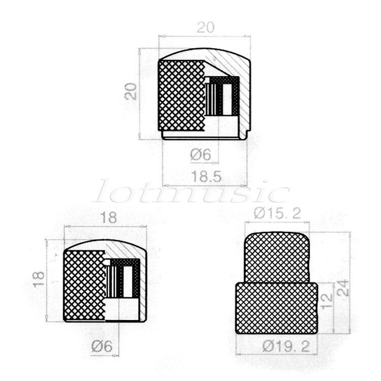 8 pcs chrome dual concentric dome knob guitar bass knob